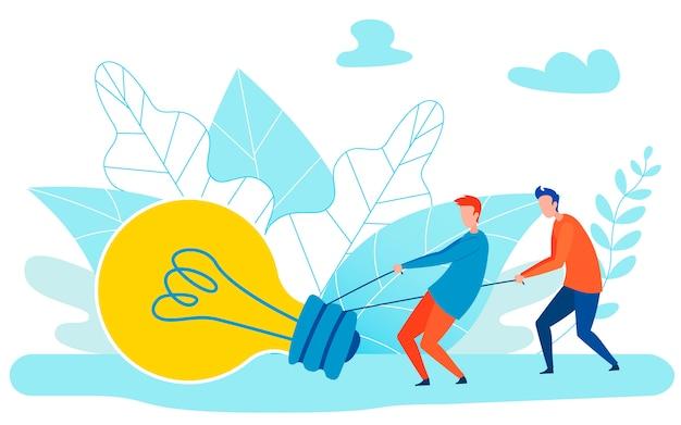 Ideen-implementierungs-metapher-flache illustration