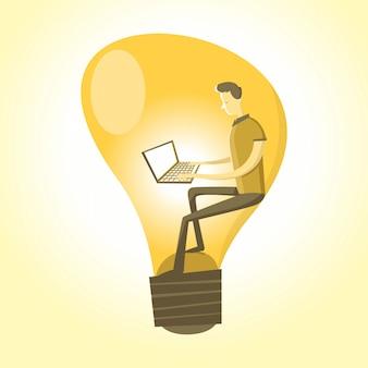 Ideen-mann, der mit pc in einer birne arbeitet