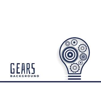 Ideen- oder innovationsbirne mit zahnradhintergrund