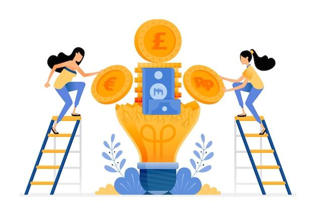 Ideen und finanzielles bewusstsein, um zu sparen und für die zukunft zu planen