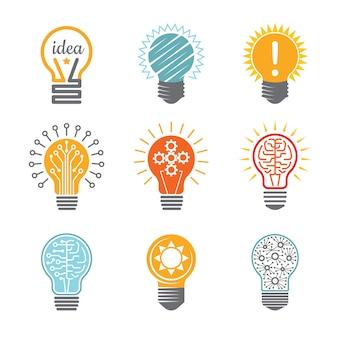 Ideenbirnensymbole, elektrische ikone der kreativen technologieinnovation für das bunte verschiedene geschäftsfirmenzeichen