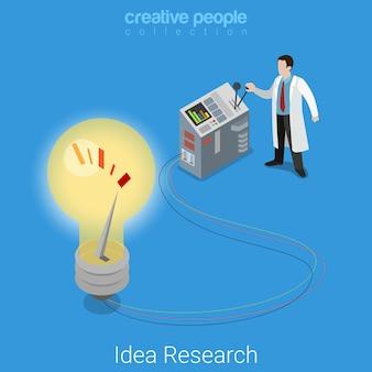 Ideenforschung flach isometrische unternehmensgründung laborlabor experiment konzept wissenschaftler beleuchtung große lampe abstrakte elektronische gerät.