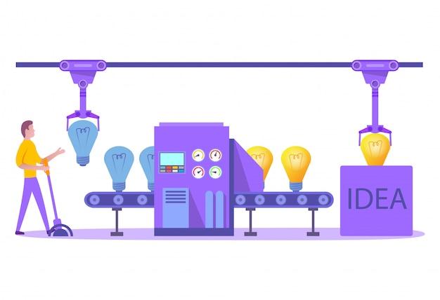 Ideengenerierung. fabrikschöpfung kreativer neuer ideen