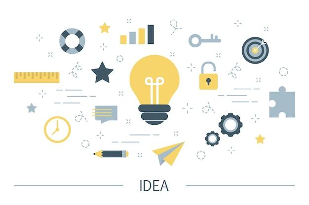 Ideenkonzept. kreativer geist und brainstorming. glühbirne als metapher der idee. satz bunte ikonen der innovation und bildung. linienillustration
