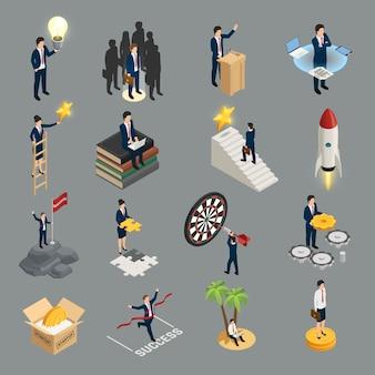 Ideensozialitäts-zweckmäßigkeitsselbstbildung und -erfolg der isometrischen ikonen des unternehmers kreative lokalisiert auf grau