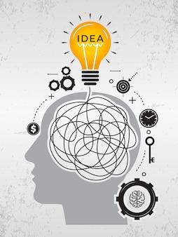 Ideensuche. chaos-gedanken, die über gute ideen nachdenken, kritzeln