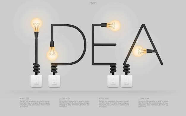 Ideenwort mit belichteter glühlampe und schaltern