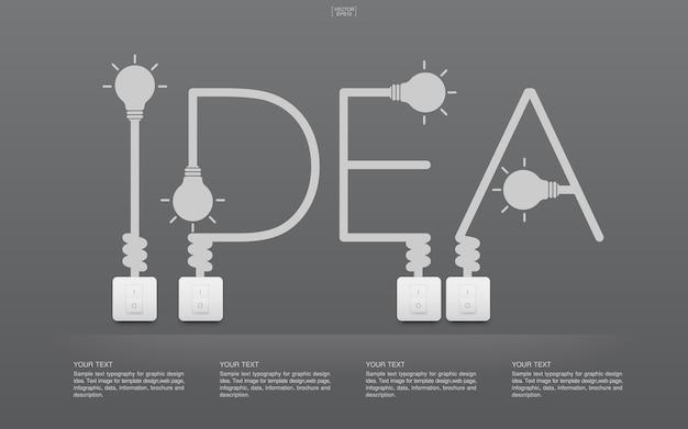 Ideenwort mit glühlampe und schaltern
