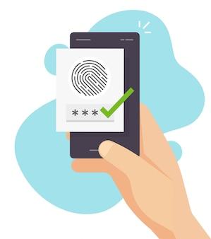 Identifikation der fingerabdrucksicherheit über einen digitalen biometrischen sensor online auf einem handy oder smartphone. sichere authentifizierung und autorisierung des fingerabdrucks