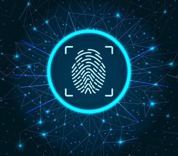 Identifikation fingerabdruck beleuchtete digitale daten