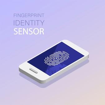 Identifizierungsscans eines fingerabdrucks im mobiltelefon. großer fingerabdruck oder persönlicher ausweis, eindeutiger biometrischer identitätssensor. biometrische scan-technologie.
