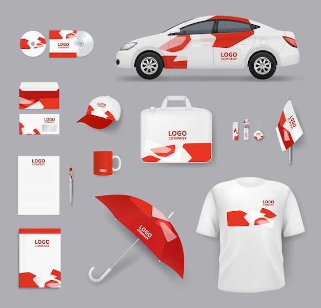 Identität festgelegt. business souvenirs unternehmensprodukte karten leere schreibwaren werkzeuge autos vektor identitätselemente sammlung. geschäftsunternehmen, designkappe, t-shirt und kartenillustration