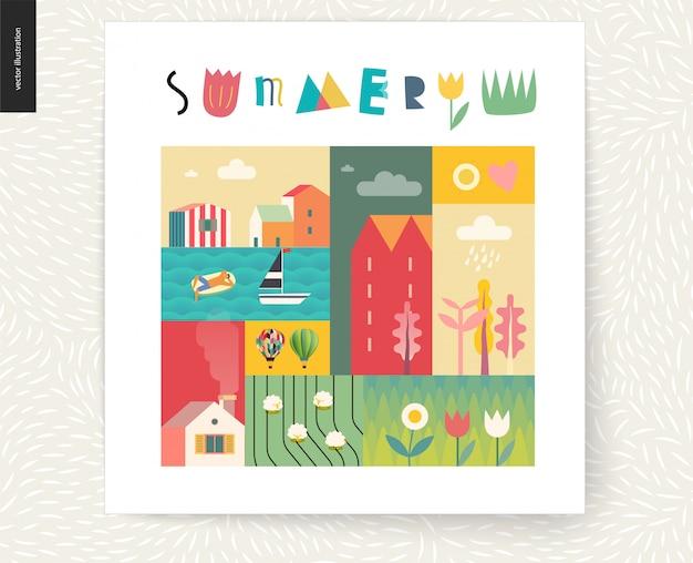 Idyllische sommerlandschaftspostkarte