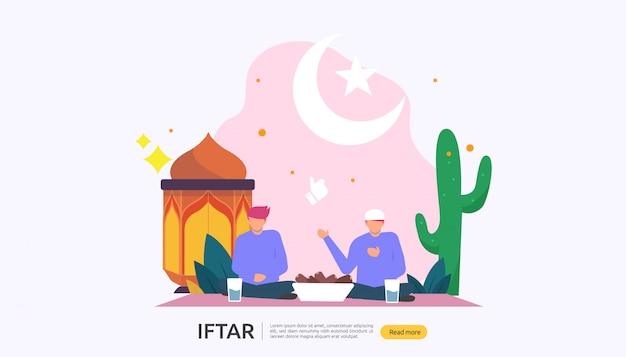 Iftar, das nach fastenfestpartykonzept isst
