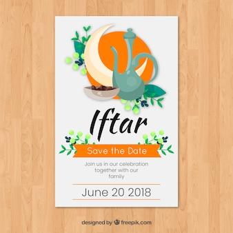 Iftar-einladung mit nahrung und tee in der flachen art