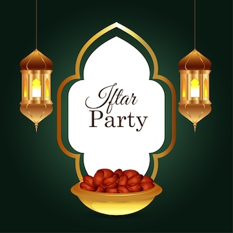 Iftar einladungshintergrund mit arabischer goldener laterne und datteln