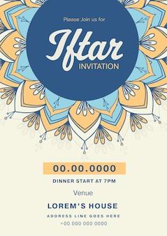 Iftar einladungskarte mit veranstaltungsdetails für werbung.
