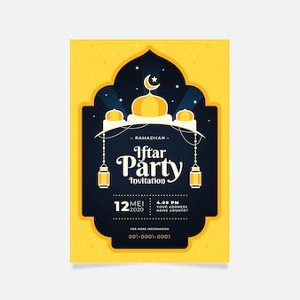 Iftar einladungsschablone im flachen design