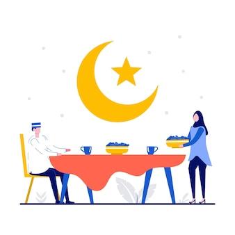 Iftar essen nach dem fasten fest party konzept mit winzigen menschen