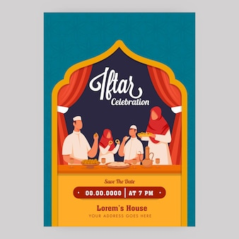 Iftar-feier-flyer mit muslimischer familie, die nahrungsmittel und ereignisdetails genießt.