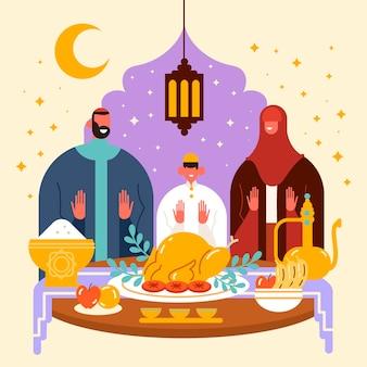 Iftar illustration mit leuten, die eine mahlzeit haben