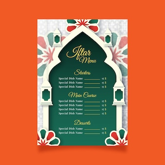 Iftar-menüvorlage im papierstil