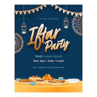 Iftar party flyer design mit köstlichen lebensmitteln und hängenden beleuchteten laternen auf blau