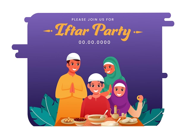 Iftar party flyer, muslimische familie, die namaste (willkommen) mit gegenwärtigen köstlichen nahrungsmitteln anlässlich der iftar party tut.