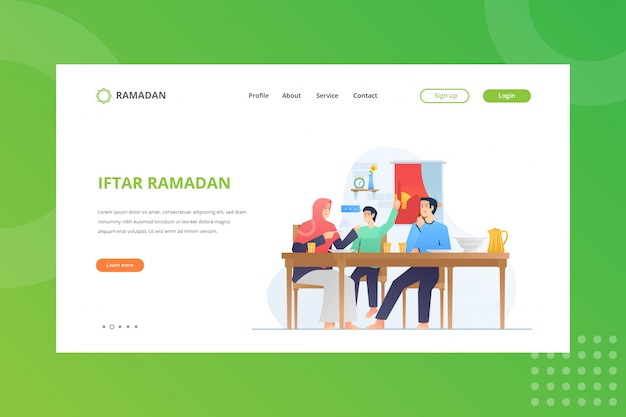 Iftar party illustration für ramadan konzept auf landing page