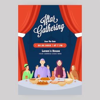 Iftar versammlungsflyer mit muslimischer familie, die vor essen und veranstaltungsort betet details.