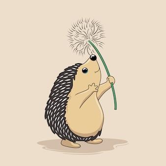 Igel spielen löwenzahn blume fliegende cartoon porcupine