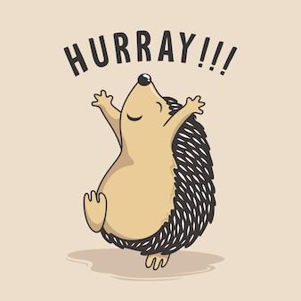 Igel springender cartoon glückliches hurra-stachelschwein