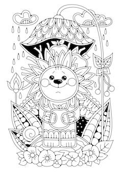 Igel steht im garten unter einem blumenschirm