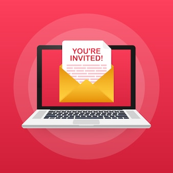 Ihr seid eingeladen! abzeichen-symbol. geschrieben in einem briefumschlag. illustration.