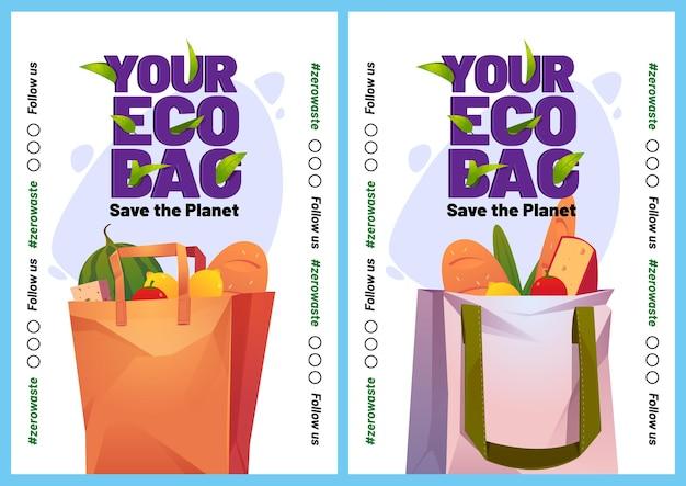 Ihre öko-taschen-cartoon-poster oder mobile bildschirme Kostenlosen Vektoren