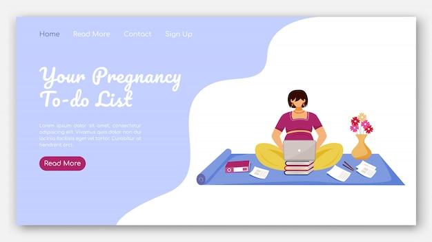 Ihre schwangerschaft zu tun liste landing page vorlage. ferne arbeit für schwangere frauen website-schnittstelle idee mit illustrationen. homepage-layout. web-banner, webseiten-cartoon-konzept