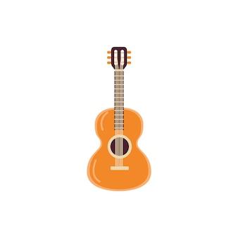 Ikone der akustischen gitarre des klassischen saitenmusikinstruments aus holz