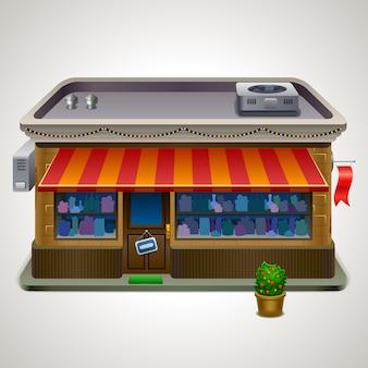 Ikone der fassade eines ladengeschäfts oder cafés