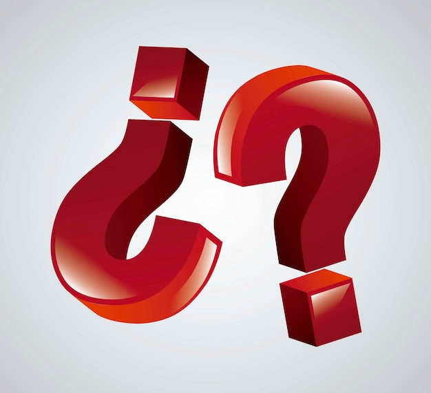 Ikone der frage 3d über grauer hintergrundvektorillustration