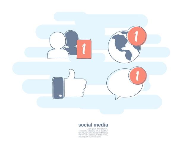 Ikone der sozialen medien.