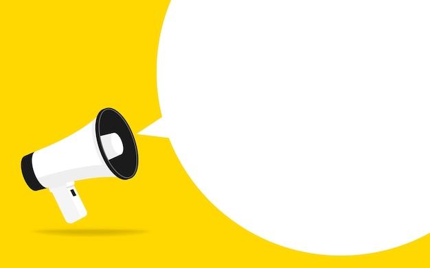Ikone des megaphons mit weißer blase für social-media-marketing-konzept.