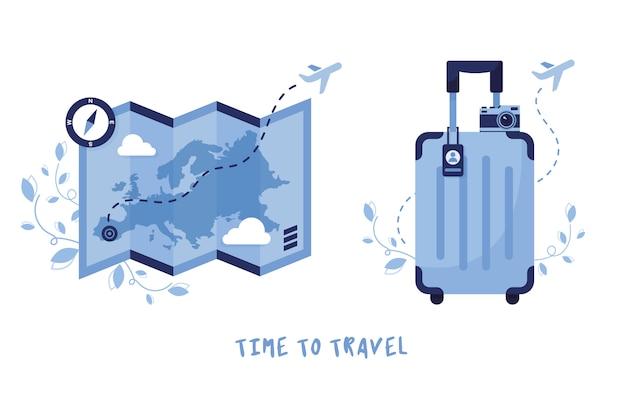 Ikone für reisen und tourismus. gepäck, koffer und karte mit kompass. urlaub in europa. sommerferien. blau