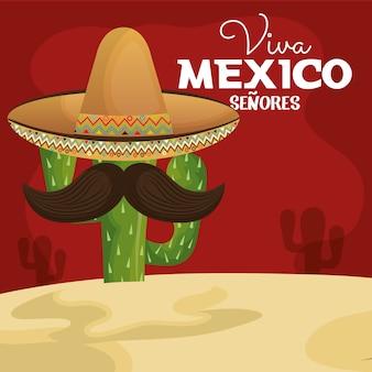 Ikone viva mexikokaktus mit hut und dem schnurrbart