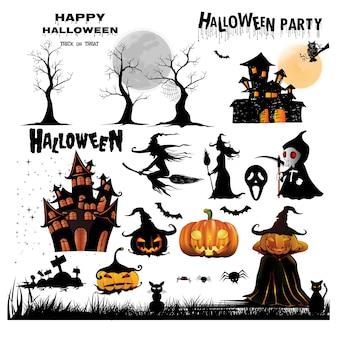 Ikone von halloween-schattenbildern