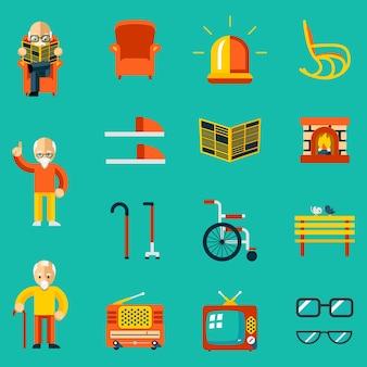 Ikonen älterer menschen. kamin und zeitung, hausschuhe und bank, radio und fernseher. vektorillustration