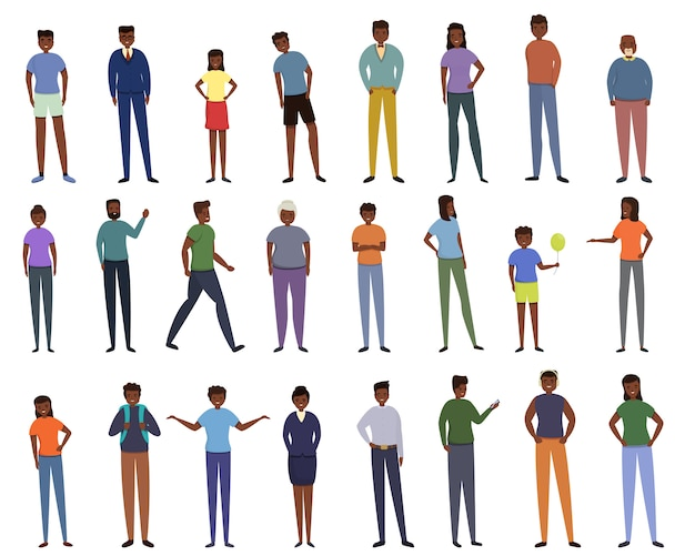 Ikonen der afrikanischen leute eingestellt. karikaturensatz der afrikanischen volksvektorikonen