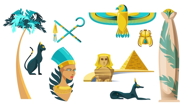 Ikonen der alten ägypten-symbole