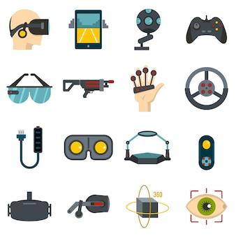 Ikonen der virtuellen realität eingestellt in flachen stil