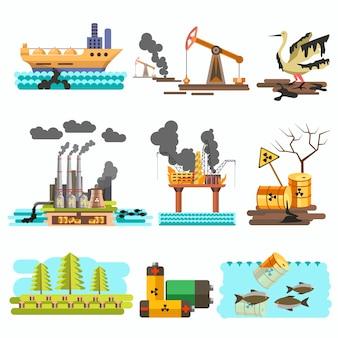 Ikonen des designkonzept-illustrationssatzes des ökologievektors flachen.