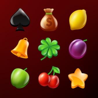Ikonen des spielautomaten. set vektorrealistische abbildungen